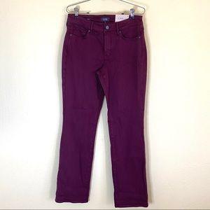 NYDJ Marilyn Straight Leg Stretch Jeans Purple 8
